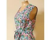 Flruit print smock dress// vintage cotton dress