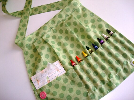 Crayon Apron / green polka dot