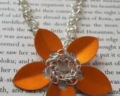 Orange Flower Necklace.  Silver.  Barrel Chainmaille.