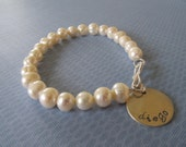SHEEN -- Personalized Hand Stamped Sterling Silver & Pearl Charm Bracelet