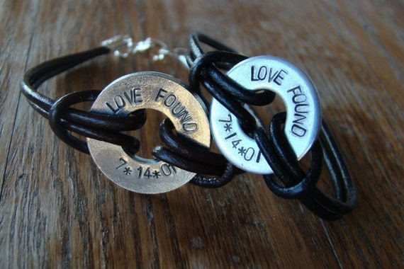 Two of a Kind -- Couples leather washer bracelets set hand stamped personalized for men women valentines day anniversary engagement birthday
