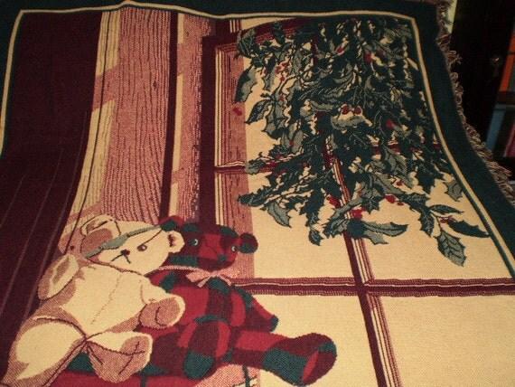 Vintage Christmas Winter Bob Timberlake Throw All Cotton
