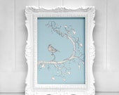 8.5 x 11 PRINT signed Love Hearts Blue Bird of Whimsy illustrated vines black white