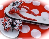 Custom Boutique Girls Toddler Disney Summer Spring Vacation Red and Black MINNIE MICKEY MOUSE Ribbon Flip Flops  …