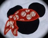 Custom Boutique Disney Vacation PIRATE  Baseball Football Soccer MICKEY MOUSE  baby toddler boys Applique Top Shirt