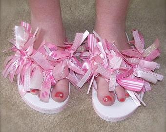 Custom Boutique Adult Womens Ladies BABY Shower gift GIRL or Boy rag tie PINK or Blue Ribbon Flip Flops pink….