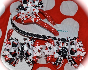 Custom Boutique Girls Toddler Disney Summer Spring Vacation Red and Black MINNIE MICKEY MOUSE Ribbon Flip Flops m2m Hair Bow Set