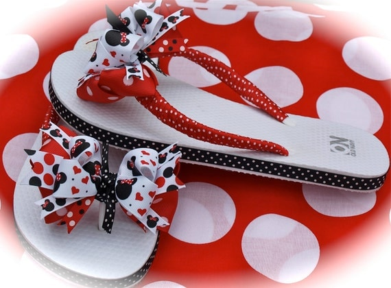Custom Boutique Adult Womens Ladies Disney Summer Spring Vacation Red and Black MINNIE MICKEY MOUSE Ribbon Flip Flops  Mommy and Me