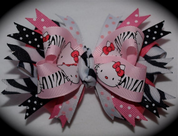 Custom Boutique Toddler Girls Pink and Black Summer HELLO KITTY Zebra Safari Hair Bow Clip Free Shipping