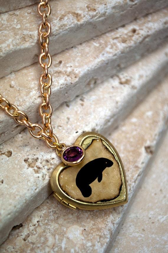 Heart locket animal silhouette solid brass vintage