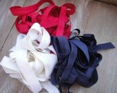This listing is for 6 yards 2 of each color red, blue ,white