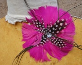 Cute  feather  applique with  rhinestone and back clip  hot pink   color   1 piece listing.