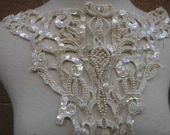 Venice beaded applique big size ivory color 1 pieces listing 11 1/2 inches wide at the neck 13 inches from shoulder down