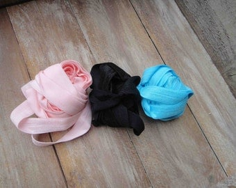 This listing is for 6 yards 2 of each color black, baby  pink, baby blue colors