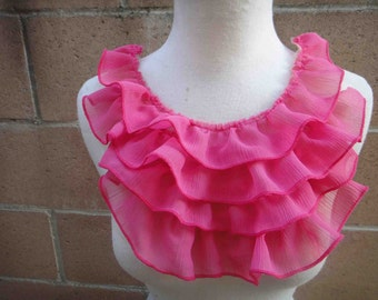 Fashion piece of ruffled chiffon  applique yoke pink   color 1 pieces listing