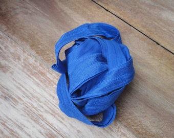 Blue color  fold over elastic 5 yds.