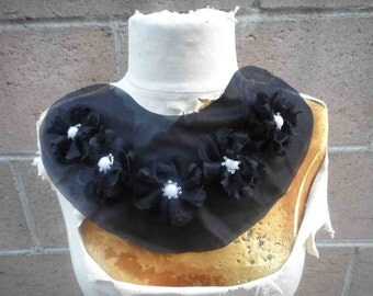 Cute   applique yoke     with beaded flower  black color 1 piece listing