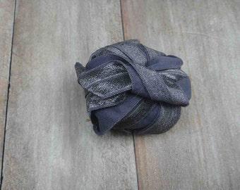 Fold over elastic 5 yds.  grey color