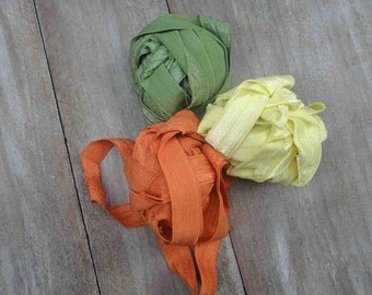 This listing is for 6 yards 2 of each color olive yellow n orange