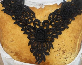 Cute venice applique yoke black color 1 pieces listing 8 1/2 inches wide at the neck 2 inches wide at the shoulder