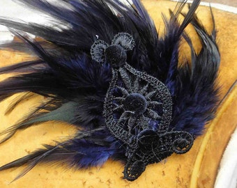 Black and purple  color  feather applique   100 %  handmade   1 pieces listing