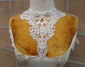 Ivory color beaded applique  ivory color 1 piece listing