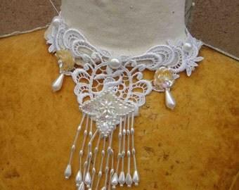 White color beaded venice applique yoke    1 piece listing
