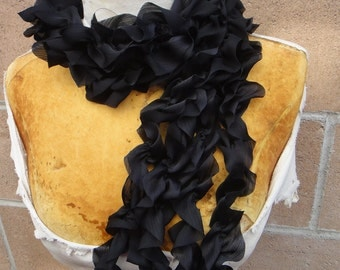 Cute chiffon  ruffled  trim  black color 2 yards listing