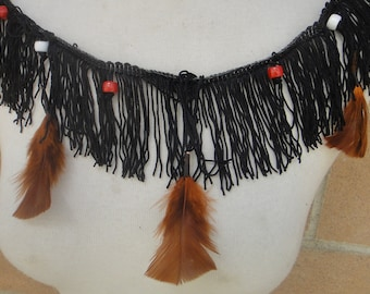 Cute  black color  trim   with  feather   20 inch long