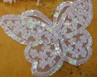 Cute embroidered  and beaded   butterfly  applique  with  sequins white color 1 pieces listing