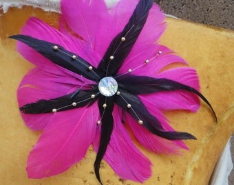 Feather  flower applique hot pink color