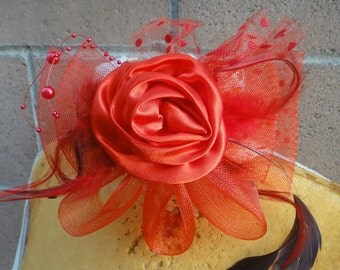 Cute  flower with  bow  feather and beads  red color
