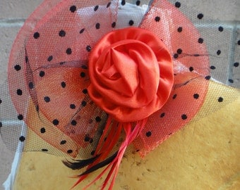 Cute  flower with  bow  feather red   color and back pin
