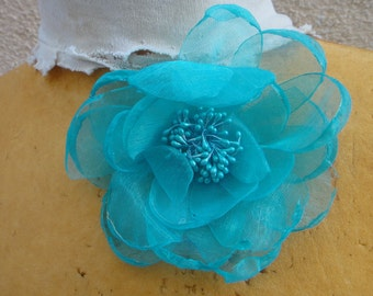 Cute organza  flower  with back pin D