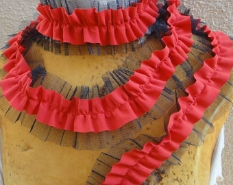 Cute chiffon  ruffled  trim  red and black color  2 yards listing 2.5 inch wide
