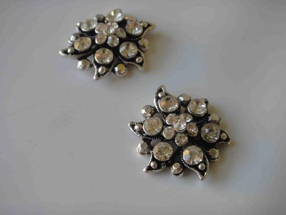 Buckles with rhinestones 2 pieces silver color