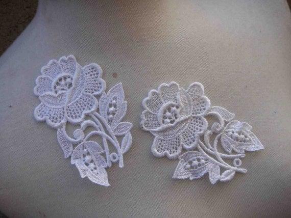 Venice flower  applique  white   color 2 pieces