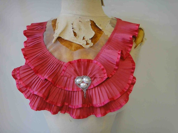 Fashion piece of   ruffled and beaded  applique  hot pink  color