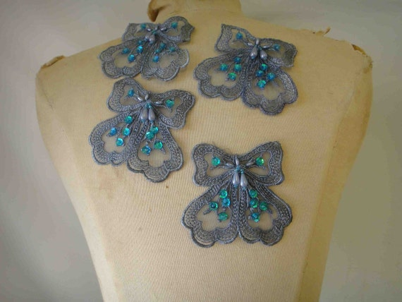 Cute blue bow applique yoke 4 pieces listing