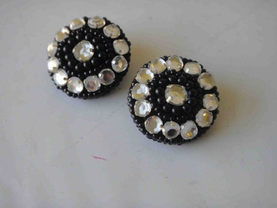 Very cute buttons with black beats and rhinestones 2 pieces listing