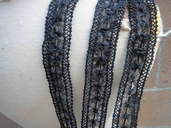 Cute embroidered and beaded trim black  color 2 yard listing 1.5 inch wide