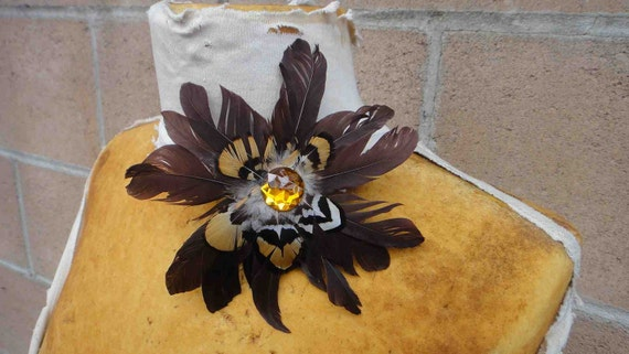Feather flower  1 pieces listing  brown    color