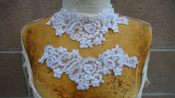 Cute embroidered  and  beaded organza  applique white  color 1    piece listing