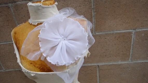 Cute  ruffled  chiffon  flower applique  white    color
