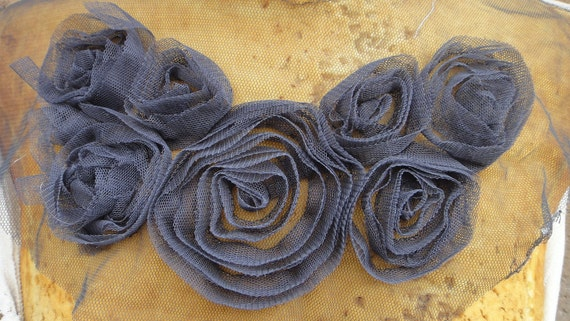 Cute  embroidered  flower  applique grey  color