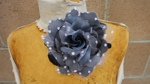 Cute organza  flower  with pin and clip back 1 piece listing