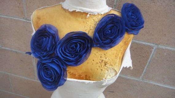 Cute embroidered  chiffon flower   applique royal blue  color
