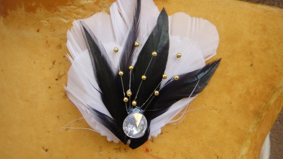 Feather applique white and black color