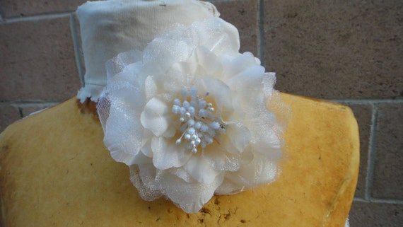 Cute ivory   color organza   flower  with pin and clip  4.5 inch wide 1 piece listing