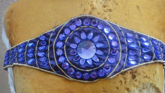 Cute  embroidered  and beaded  applique purple  color